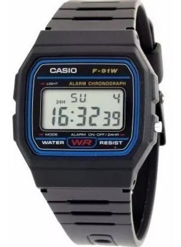 Relógio Casio F-91w 100% Original Série Azul Prova De Água!