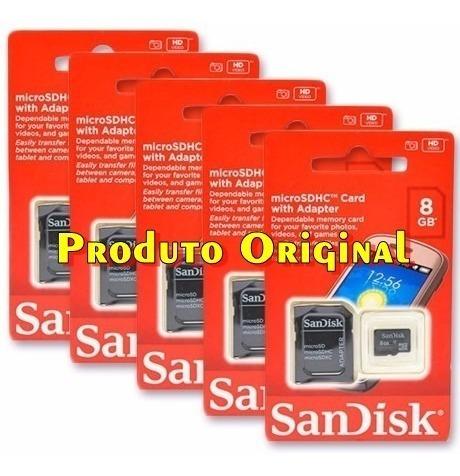 Kit Cartão De Memória Sandisk 8gb - 5 Unidades