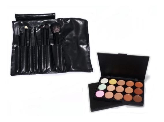 Kit 7 Pincéis Maquiagem Estojo + Paleta Base Corretivo 15