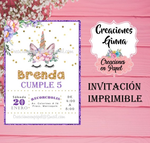 Invitacion Unicornio Con Flores Imprimible