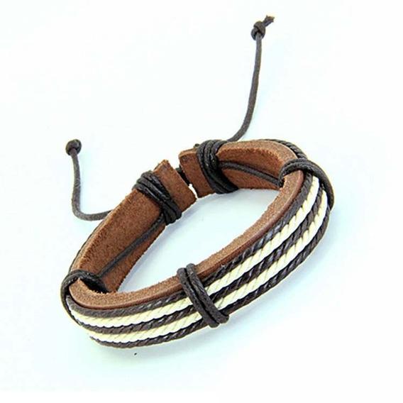 Pulseira Masculina Unissex Bracelete Tribal Couro Marrom