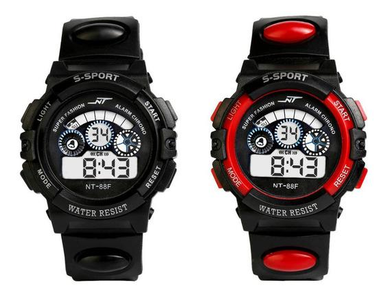 Kit 2 Relógio Digital Masculino Infantil Esportivo Com Luz