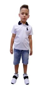Kit 3 Conjuntos Infantil Jeans Bermuda E Camisa Polo