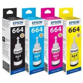 Kit 4 Tintas T664 Epson L395 L380 L375 L220 L455 Original!!