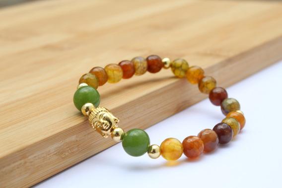 Pulsera Buda Hecha De Agata Natural - Equilibra Energia