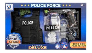 Set Policia Pistola C/luz Y Sonido, Chaleco + 8 Acc. 1733939