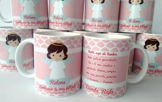 05 Caneca Porcelana Personalizada Padrinho Batizado Infantil