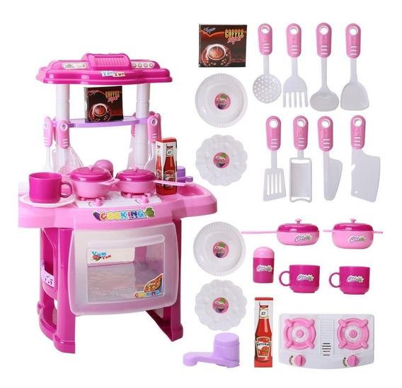 Cocina Infantil Niña Juguetes Sonido Luz Accesorios Rosa