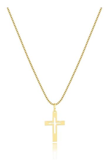 Cordão Feminino Ouro 18k 45cm E Pingente Cruz