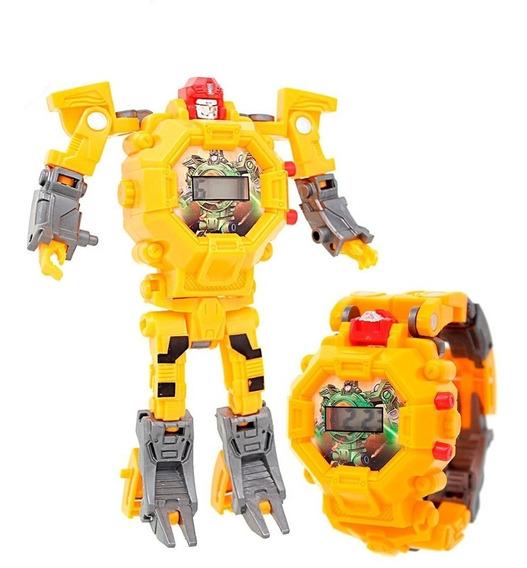 Reloj Digital Infantil Transformer Robot Zeta Niños Amarillo