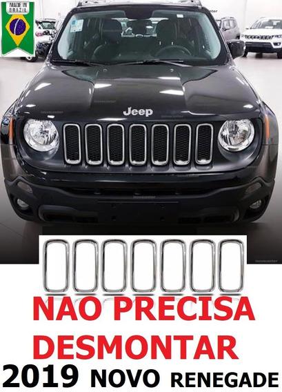 Grade Cromada Renegade Jeep Arcos Friso Moldura 2019 Pcd