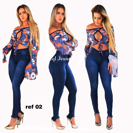 3 Calças Jeans Feminina Cós Alto Hot Pants + Levanta Bumbum