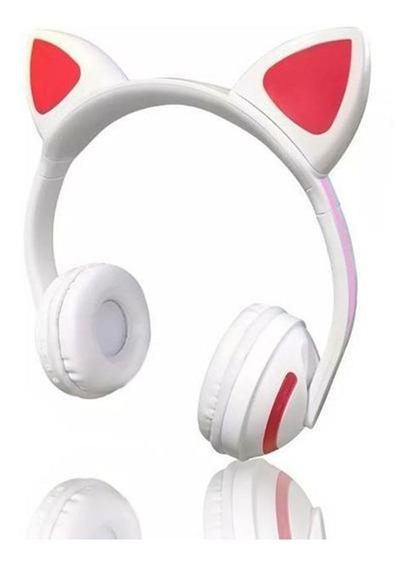 Fone De Ouvido Bluetooth Orelha De Gato Headphone C/ P2 Led