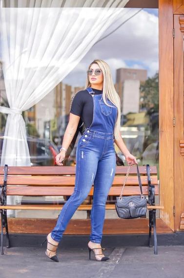 Macacão Jeans Feminino Jardineira Jeans Com Lycra Divine