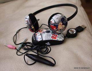 Audifonos Microfono Y Mouse Raton Mickey Coleccion Nuevos