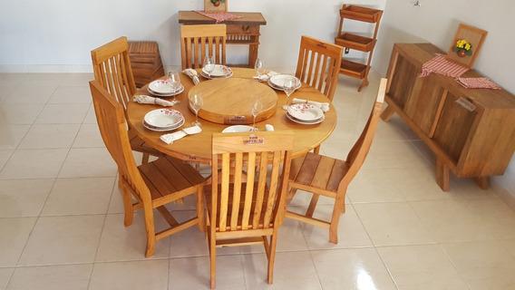 Mesa Redonda Giratória 1,60m + 6 Cadeiras Encosto Curvo Peroba Rosa