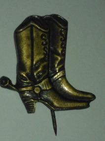 Antigo Broche Boton Formato Bota Cowboy Vaqueiro- Nº 1708g