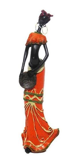 Boneca Africana Mesa Sala Enfeite Decoraçao Vestido Laranja