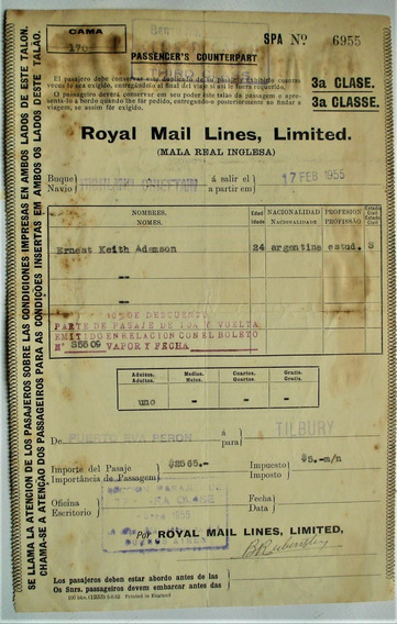 Royal Mail Lines Limited 1955 Buque Vigilant Chieftain