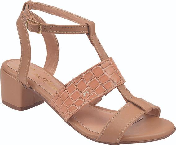 Sandalia Salto Baixo Grosso Verniz Croco Ref: 41.007
