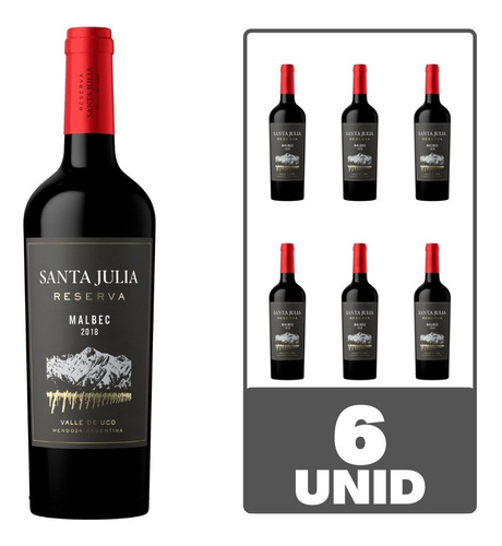Imagen 1 de 5 de Vino Santa Julia Reserva Malbec 750 Ml Tinto Caja X 6