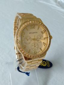 Relogio Dourado Feminino Atlantis G-3383 Original.