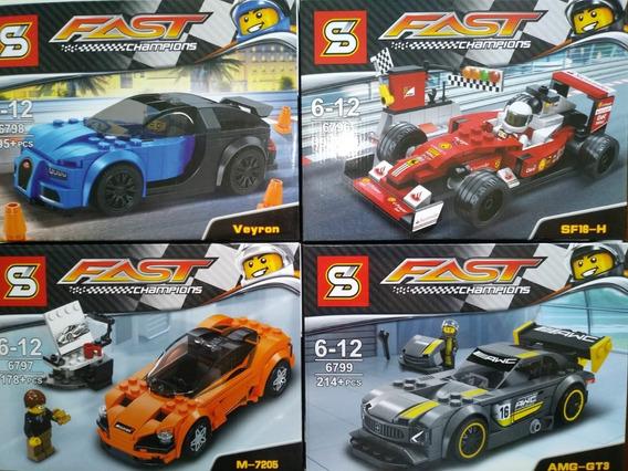 4 Carros Corrida Blocos De Montar Formula 1 Bugatti Mclaren