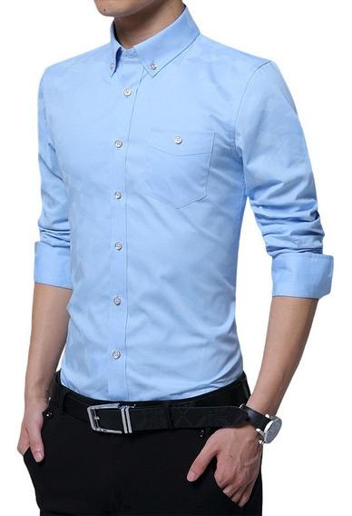 Camisa Manga Larga Hombre Azul Celeste, Casual, Elegante