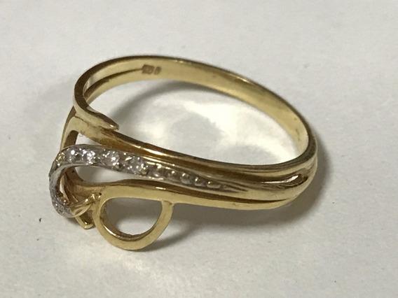 Anel Em Ouro 18k-750, Aro: 16/17 Peso: 2.3 Gr, Com Diamantes