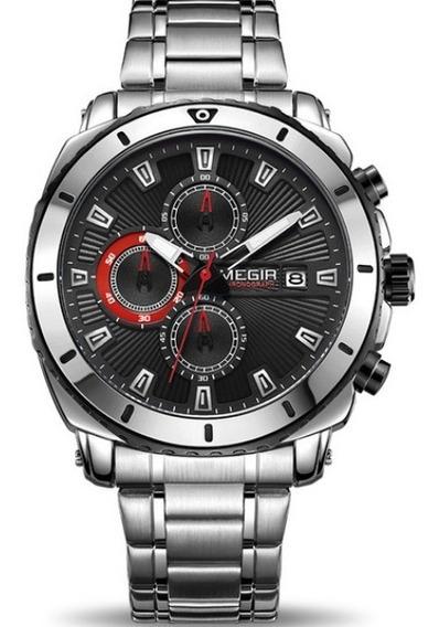 Relógio Masculino Original Megir Luxo Cronógrafo Aço Inox