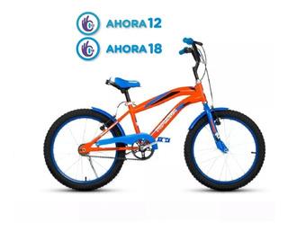 Bicicleta Roda 20 Bmx Naranja Azul Varon Top Mega Cuotas Fas