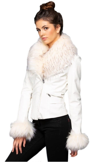 Chamarra De Vinipiel Blanca, Con Aplicacion De Fur, Elegante