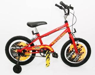 Bicicleta Futura Twin Rodado 16 Niños Bmx Cross Con Rueditas