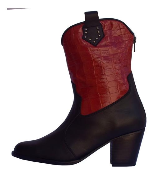 Botinetas Cuero Negro Y Cuero Croco Rojo Cierres Talón Nº 36