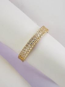 Anel Feminino Aparador Diamantes Brilhantes Naturais Ouro18k