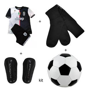 Kit Conjunto Juventus Infanti Uniforme+canelaira+meiao 6/12a