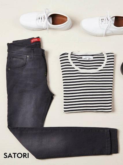 Jeans Pantalón Chupín Hombre Elastizado Satori