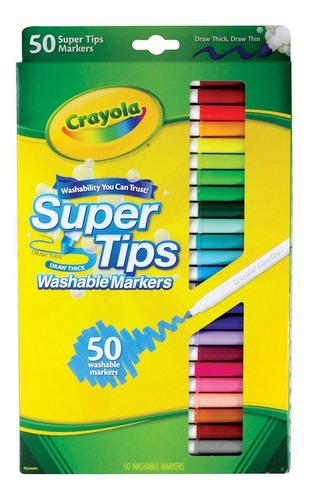 Crayola Supertips 50 Plumones Lavables Washable Niños