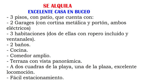 Alquiler De Casa En Buceo/todo Doble.. Garage, Baño Y Cuarto