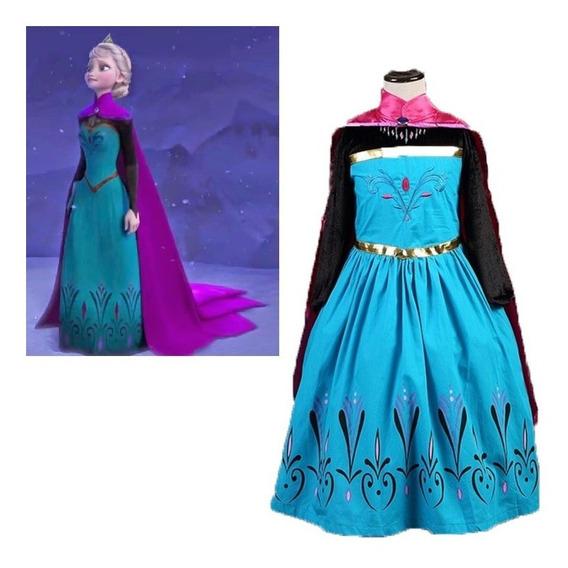 Vestido Fantasia Princesas Infantil Frozen Ana E Elza - Prom