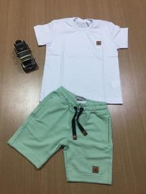 Roupa Infantil Menino Camisa Lisa + Short Moletom 4 Anos #