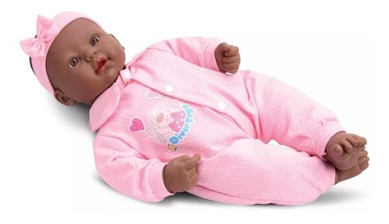 Boneca Bebê Estilo Reborn Negra Divertoys 44 Cm