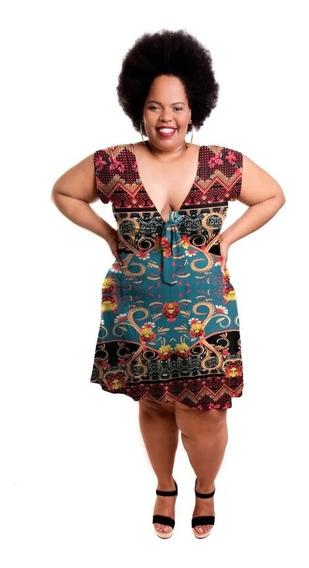 Roupa Feminina Plus Size Vestido Curto Com Laço No Decote
