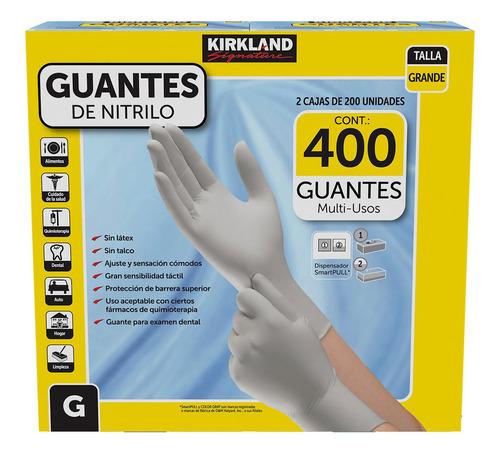 Imagen 1 de 2 de 400 Guantes Nitrilo Gde Kirkland 2 Cajas De 200 C/u Multiuso