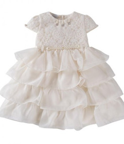 5830381d46 Vestido Infantil Em Renda Floral E Cinto Com Pérolas N°3