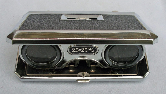 Vintage Sport Glass Pocket Binoculars -e Stojo De Couro