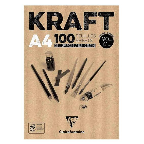 Bloco De Papel Kraft A4 90gr Clairefontaine 100 Folhas