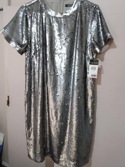Vestido De Fiesta Talle 12 Ralph Lauren Con Etiqueta Nuevo