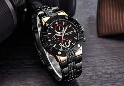 Relógio Curren Aço Inox Luxo A Prova D