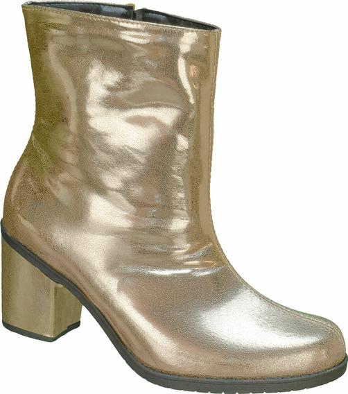 Botas Femininas Cano Curto Baixo Salto Médio Preta Dourada